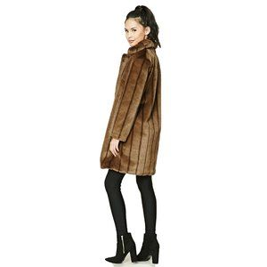 Forever 21 Faux Fur Longline Brown Coat Size Large